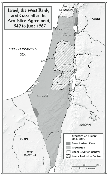 "Israel, the West Bank, and Gaza after the Armistice Agreement, 1949 to 1967. From ""Children of the Stone"" (Bloomsbury, 2015)."
