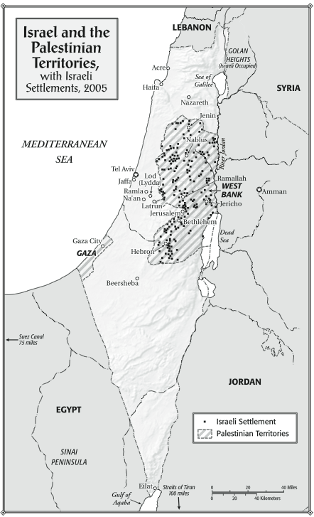 "Israel and the Palestinian Territories, with Israeli Settlements, 2005. From ""Children of the Stone"" (Bloomsbury, 2015)."