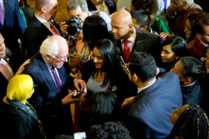 Democratic presidential candidate Bernie Sanders at a roundtable discussion at the First Unitarian Congregational Society in the New York City borough of Brooklyn. (Mary Altaffer / AP)